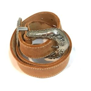 Leather belt boho western silver buckle 1 inch